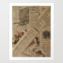 newspaper old vintage collage scrapbook Art Print