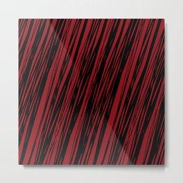 Black lines on a dark red background pattern Metal Print