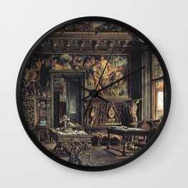 The Library In The Palais Dumba 1877 by Rudolf von Alt | Reproduction Wall Clock