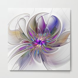 Energetic, Abstract And Colorful Fractal Art Flower Metal Print