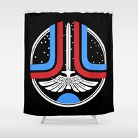 league Shower Curtains featuring Star League by Adrian Sipe