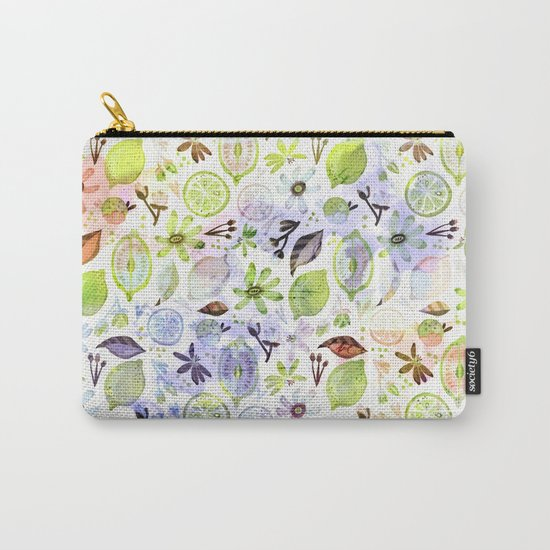 Lemons and flowers- floral Summer pattern on #Society6 Carry-All Pouch