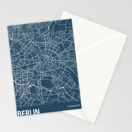 Berlin Blueprint Street Map, Berlin Colour Map Prints Stationery Cards