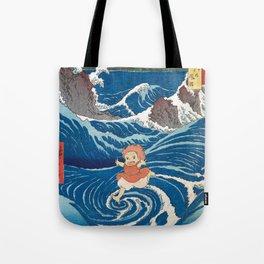 Ponyo and vintage japanese woodblock mashup Tote Bag
