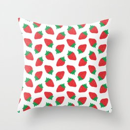 Cream Strawberries Pattern Throw Pillow