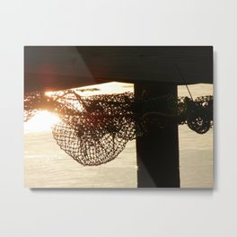 All tangled up | Net on pier with sunlight Metal Print