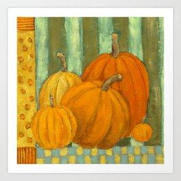 Five Pumpkins Art Print