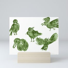 Happy Crows - Moss Green Mini Art Print