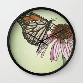 Butterfly and Coneflower Wall Clock
