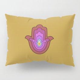hamsa hand in yellow lotus Pillow Sham