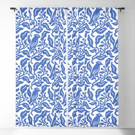 Bird and Berries Pattern Blue Blackout Curtain
