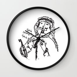 Abu Baker Salim Fan Art sketch black and white lines Oud أبوبكر سالم ما علينا Wall Clock