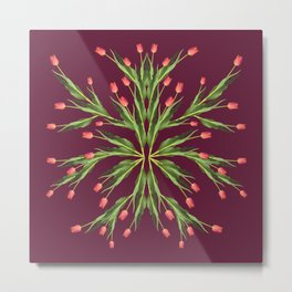 Burgundy and tulips Metal Print