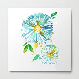 Lakeside Watercolour Blue Daisies Metal Print