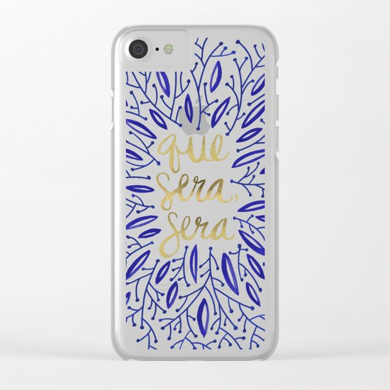 Whatever Will Be, Will Be – Navy & Gold Clear iPhone Case
