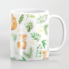 Hand painted cute brown fox watercolor green floral leaves Coffee Mug
