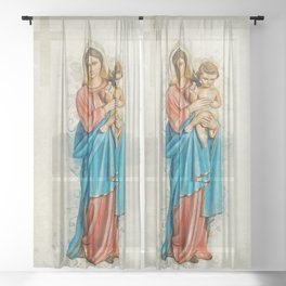 Virgin Mary And Jesus Sheer Curtain