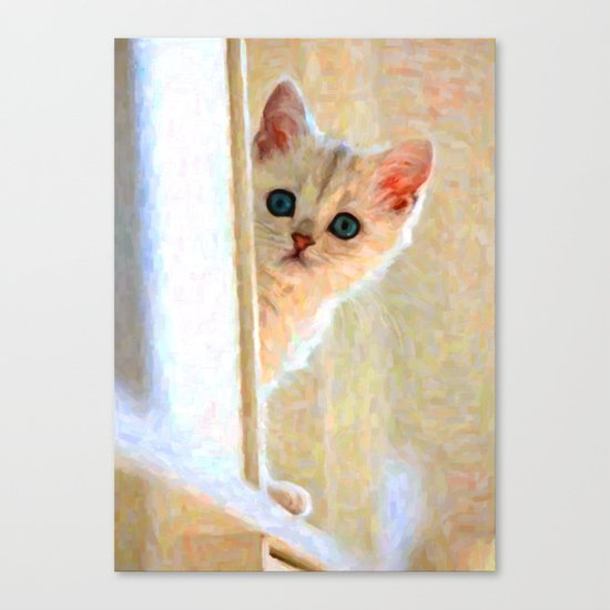 Kitten By The Window - Painting Style Canvas Print