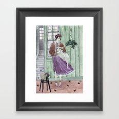 Girl with a sheep Framed Art Print