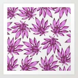Tropical leaves pattern - purple / violet / pink Art Print