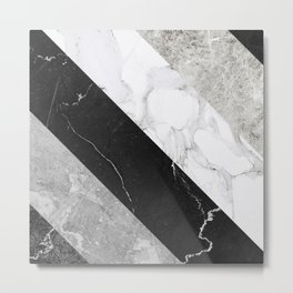 Contemporary Marble Stone Rays Metal Print