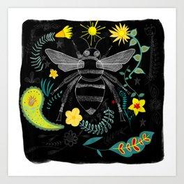 Bee Botanical Folk Art Illustration Art Print