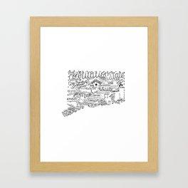 Connecticut - Hand Lettered Map Framed Art Print