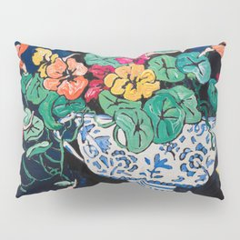 Nasturtium Bouquet in Chinoiserie Bowl on Dark Blue Floral Still Life Painting Pillow Sham