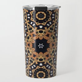 Dancing with Fireflies // Geometric Abstract Circle Mandala Visionary Art Black Sacred Geometry Travel Mug