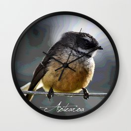 Fantail on blue Wall Clock