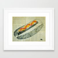 hot dog Framed Art Prints featuring hot dog  by Marat Cherny