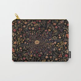 Medieval Flowers on Black Carry-All Pouch