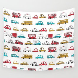 Cars trucks buses city highway transportation illustration cute kids room gifts Wall Tapestry