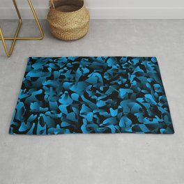 Explosive bright on color from spots and splashes of light blue paints. Rug