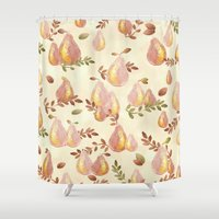 copper Shower Curtains featuring Copper Pears by Lisa Argyropoulos