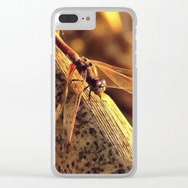 Elegant Red Darter Dragonfly Clear iPhone Case