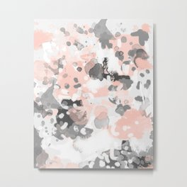 grey and millennial pink abstract painting trendy canvas art decor minimalist Metal Print