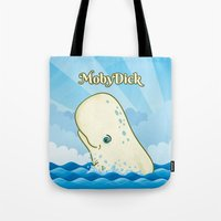 moby dick Tote Bags featuring Moby Dick by David Sevilla