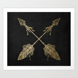 Gold Arrows on Black Art Print