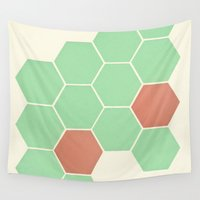 honeycomb Wall Tapestries featuring Mint Honeycomb by Cassia Beck