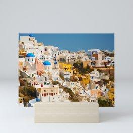 Homes On The Hillside (Santorini, Greece) Mini Art Print