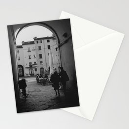 Italian old women walking through a gate| Lucca, Italy | Analog photography black and white art print Stationery Cards