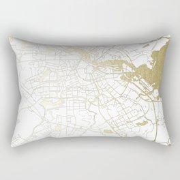 Amsterdam White on Gold Street Map Rectangular Pillow