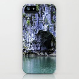 Small Cave in One of the Limestone Mountains Lining a Hidden Cove with Beautiful Turquoise Water in Halong Bay, Vietnam iPhone Case