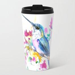 Hummingbird and Purple Pink Flowers Travel Mug