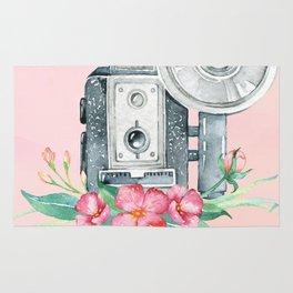 Vintage Flash Camera - Old Paparazzi in Watercolor Rug