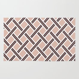 Modern Open Weave Pattern in Neutrals and Plums Rug