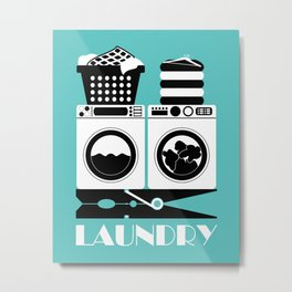 Retro Laundry Sign - Turquoise, Black and White Metal Print