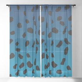 Ombre Blue Hawaii Gradient Duotone Black Spots Sheer Curtain