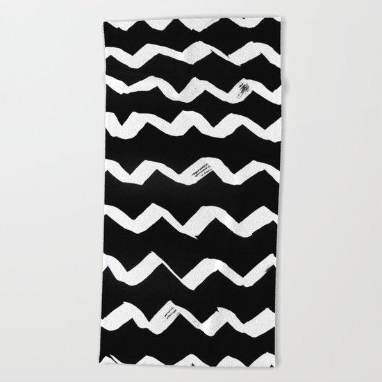 Ink Chevron(invert) Beach Towel